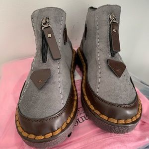 Funky Gray Boots with Zipper and Velcro Sides